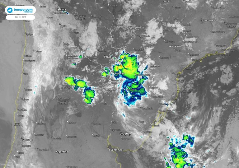 satélite; chuvas no Sul