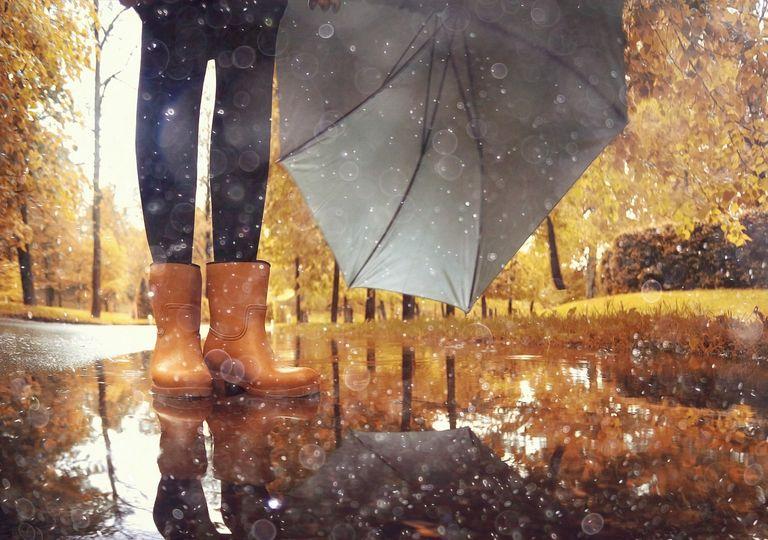 Persona con paraguas parada sobre charco de agua de lluvia