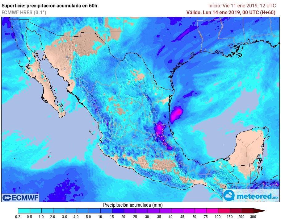 Modelo ECMWF. Precipitaciones acumuladas próximas 60 horas