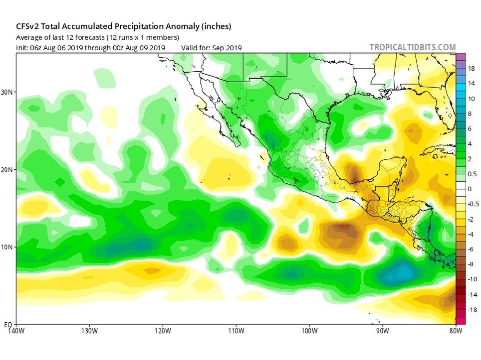 Modelo CFSv2 anomalías de precipitaciones