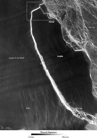 Fractura del iceberg A-68 en la noche polar