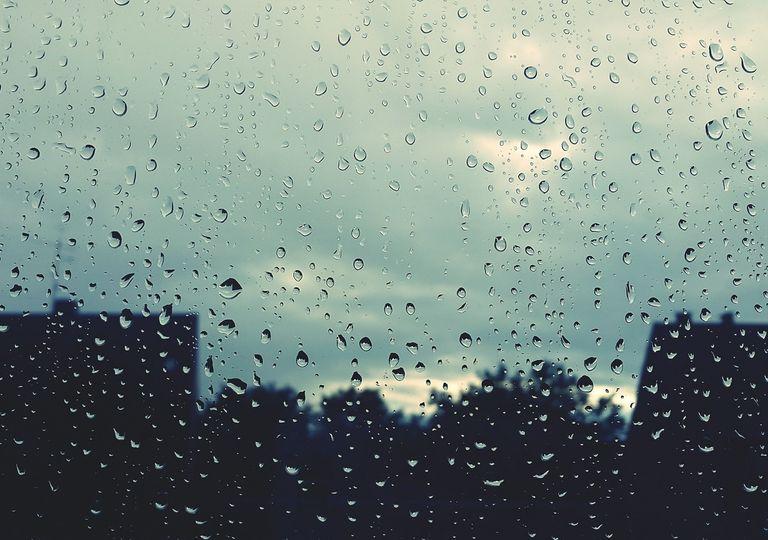 Silueta de árboles y casas a través de una ventana mojada por la lluvia