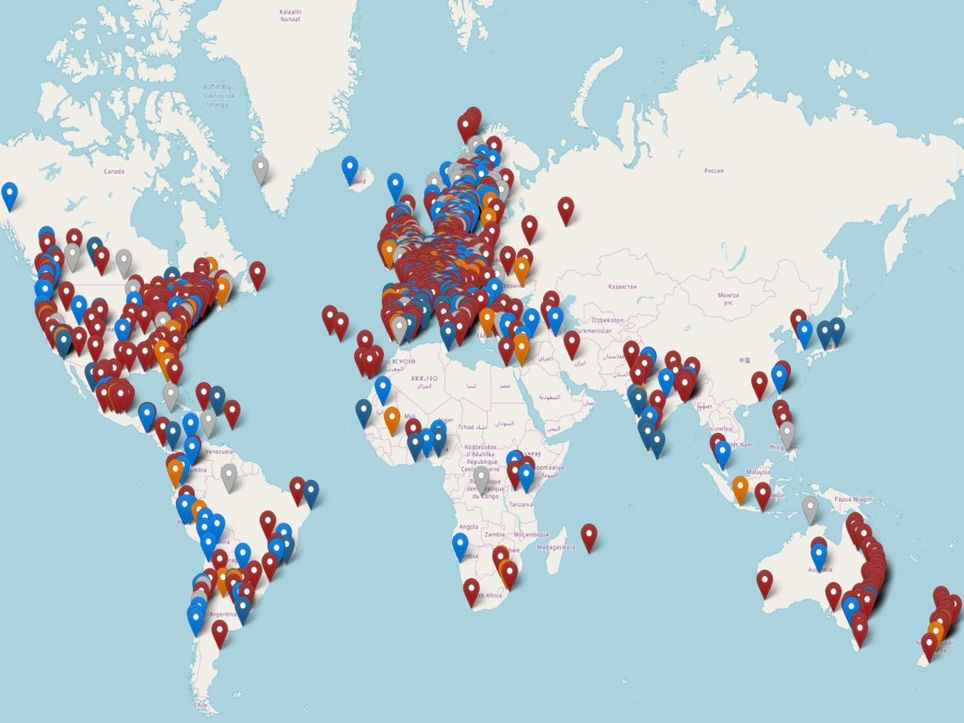 Climate protests map