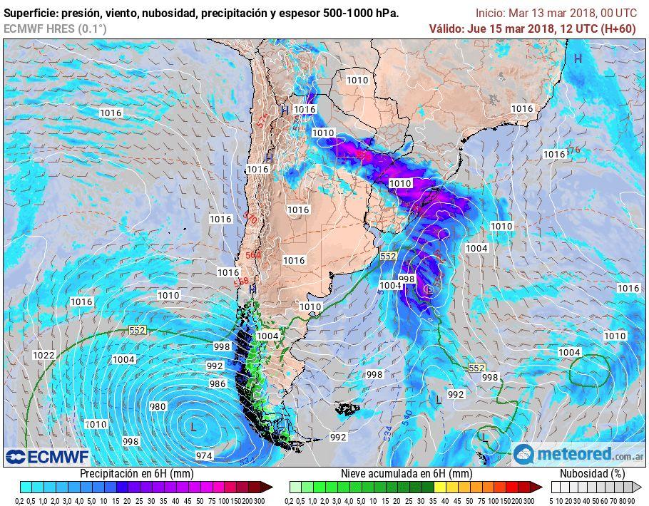 Pronóstico tormentas lluvias Argentina