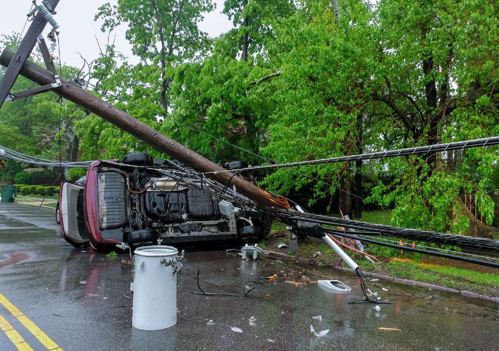 Efeitos da passagem de um furacão.