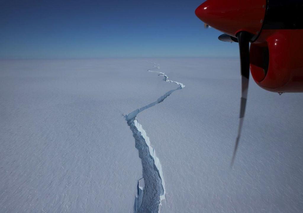 A crack in the Brunt Ice Shelf, Antarctica