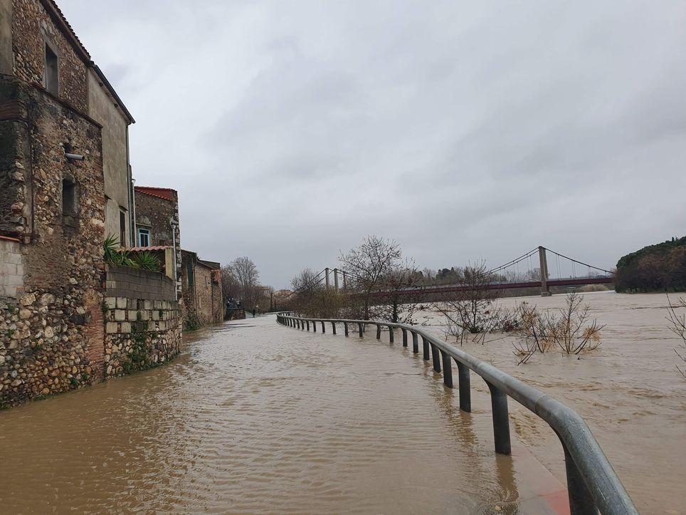 L'Agly, une des rivières placées en vigilance rouge, a atteint le niveau d'une crue cinquantennale (image ©MeteoLanguedoc)