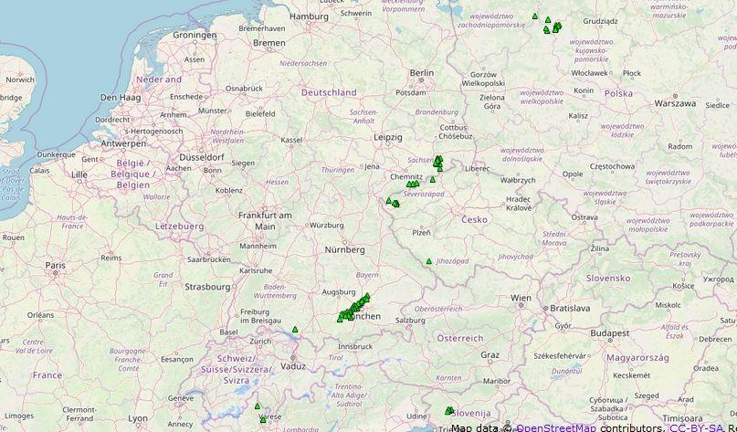 Mapa de granizo severo del 10 de junio de 2019. European Severe Weather Database