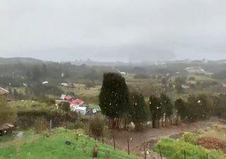 ¡Septiembre acaba con nieve! Chiloé y Punta Arenas se tiñen de blanco