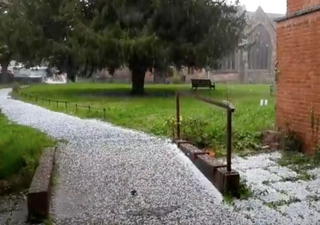 Hailstorm turns streets white in Worcester