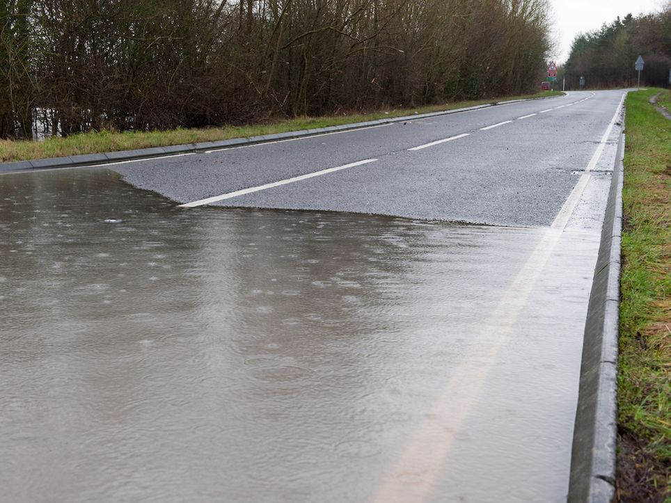 Flooded road.