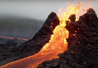Drone caught amazing footage flying over volcanic eruption