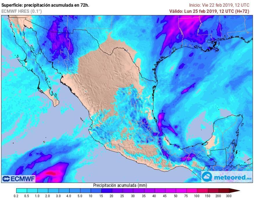 Modelo ECMWF de precipitaciones en las próximas 72 horas