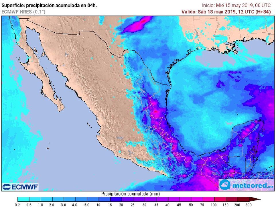 Modelo ECMWF. Precipitaciones acumuladas