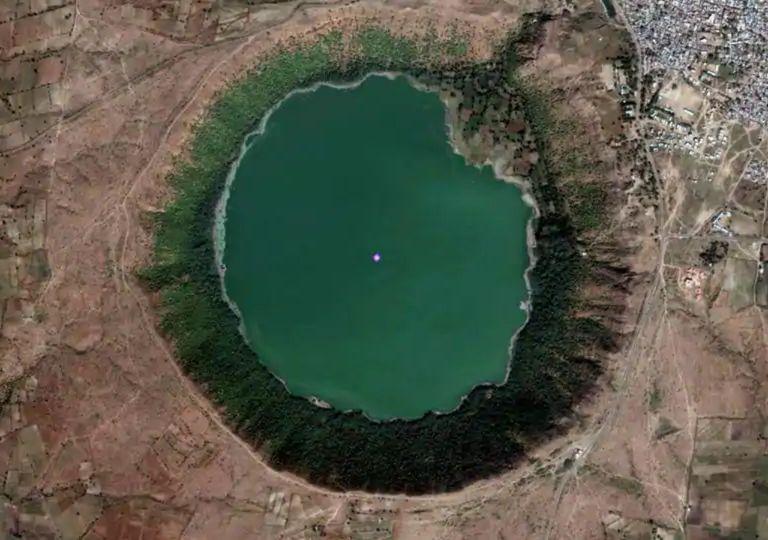 crater, lake, lago, lonar, india