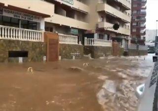 Chuvas transformam ruas em rios em cidade do leste da Espanha