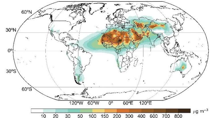 Figura 1. La concentración superficial media anual de polvo mineral en 2019