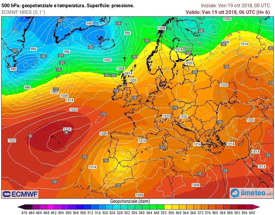La situazione meteo sull'Europa nel modello ECMWF del 19 ottobre 2018.