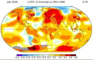 Julio de 2018: el 3º más cálido según datos de la NASA