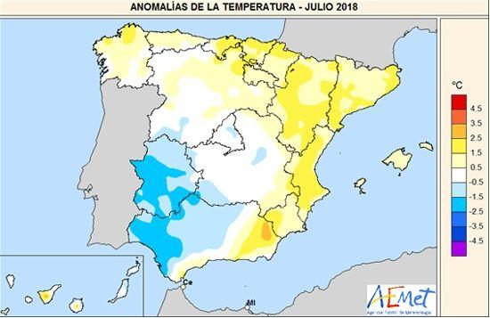 Julio De 2018 En España: Desigual En Cuanto A Temperaturas Y Precipitaciones