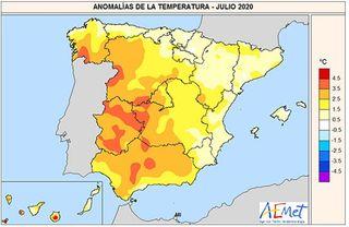 Julio de 2020: muy cálido y seco en España