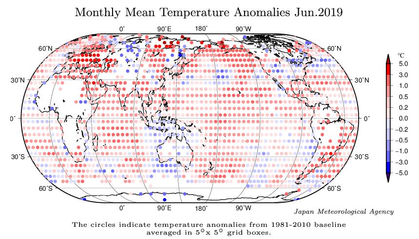 Distribución espacial de las anomalías de la temperatura global de la superficie en junio de 2019