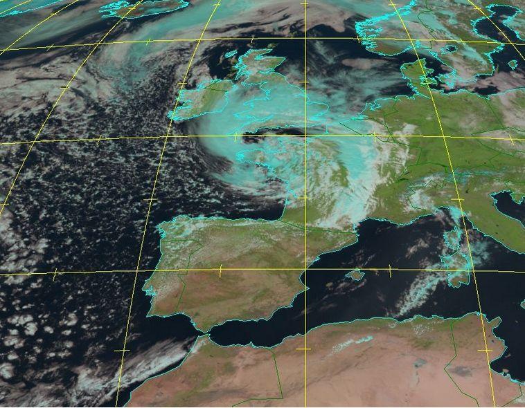 Imagen realzada de la borrasca Miguel tomada el 7 de junio de 2019 a las 12 UTC