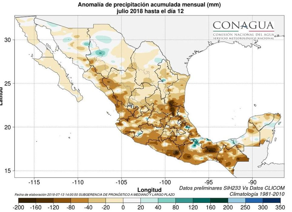 Anomalía de la precipitación hasta el 12 de julio