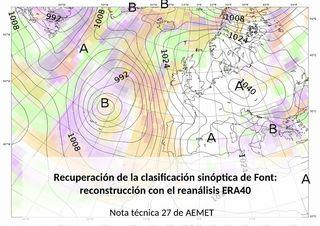La clasificación sinóptica de Font: reconstrucción con el ERA40