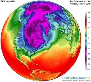 La irrupción de aire frío en EE.UU.: mucho frío, pero menos