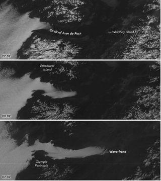 La niebla penetra en el estrecho de Juan de Fuca