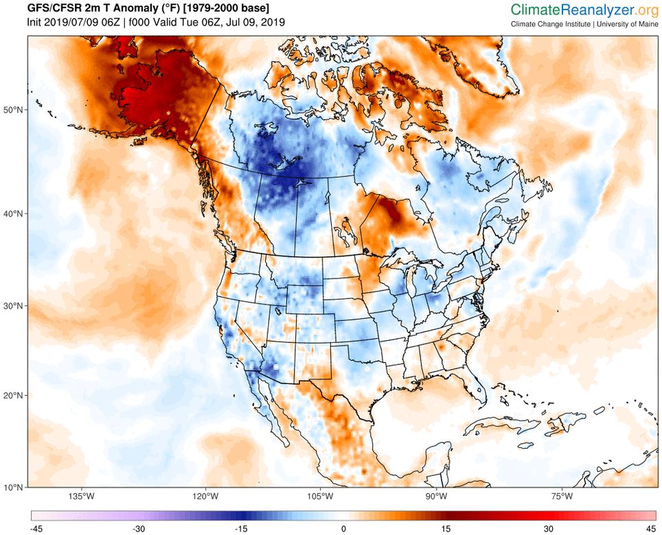 Anomalías de temperaturas a 2 m para el 9 de julio de 2019. Notar las anomalías tan altas en Alaska debido a la ola de calor actual de julio de 2019. ClimateReanalyzer