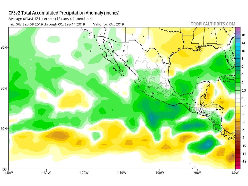 Modelo CFSv2 anomalía de precipitaciones