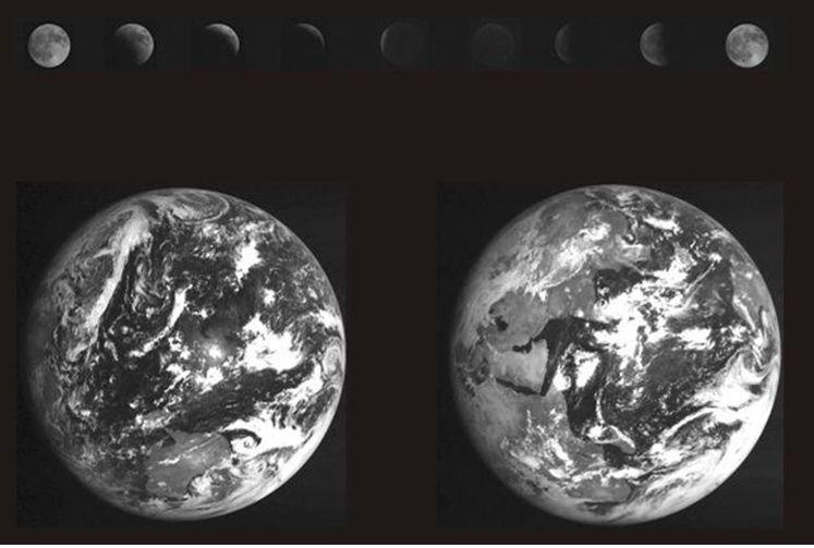 La Tierra y la Luna durante el eclipse