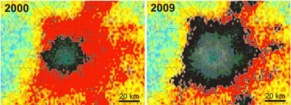 Las Imágenes De Satélite Muestran Como Beijing Cuadruplicado Su Tamaño De 2000 A 2009