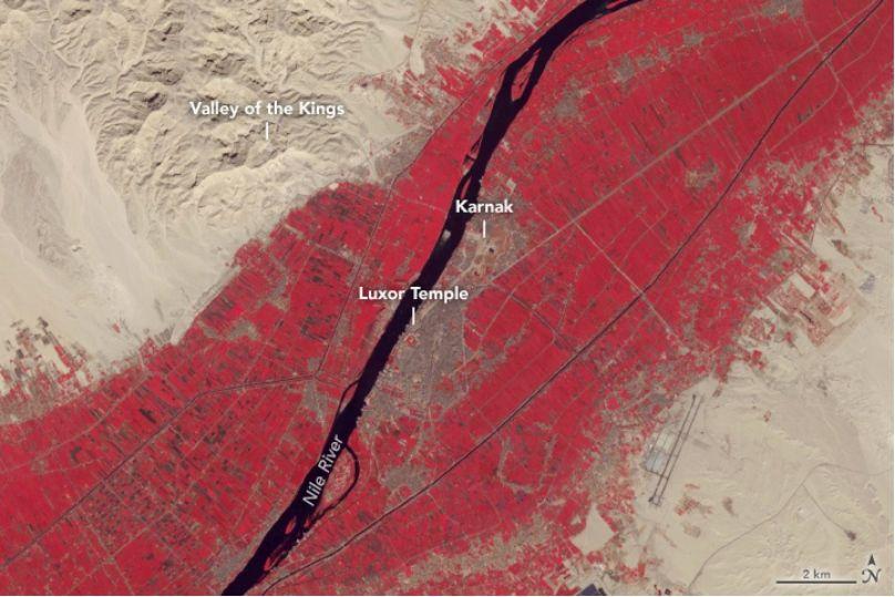 Luxor y sus alrededores. Imagen del 15 de noviembre de 2018 tomada por Terra. Detalle