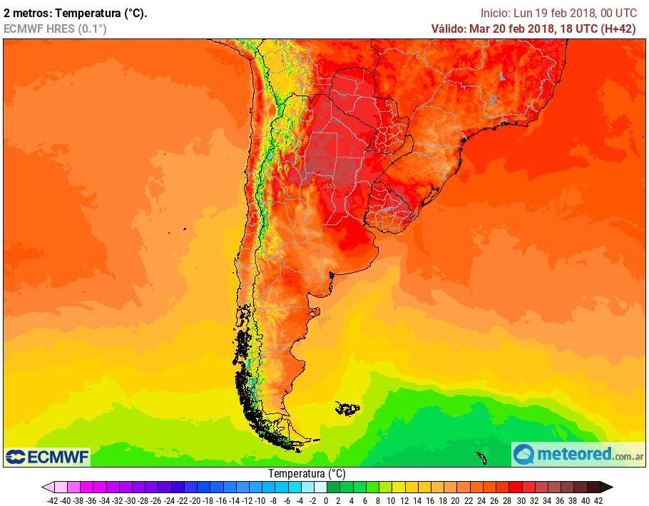 Temperaturas pronóstico Argentina