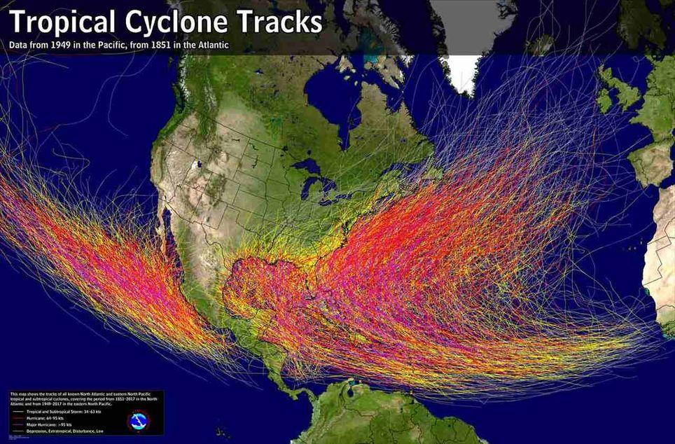 Trayectorias de ciclones tropicales