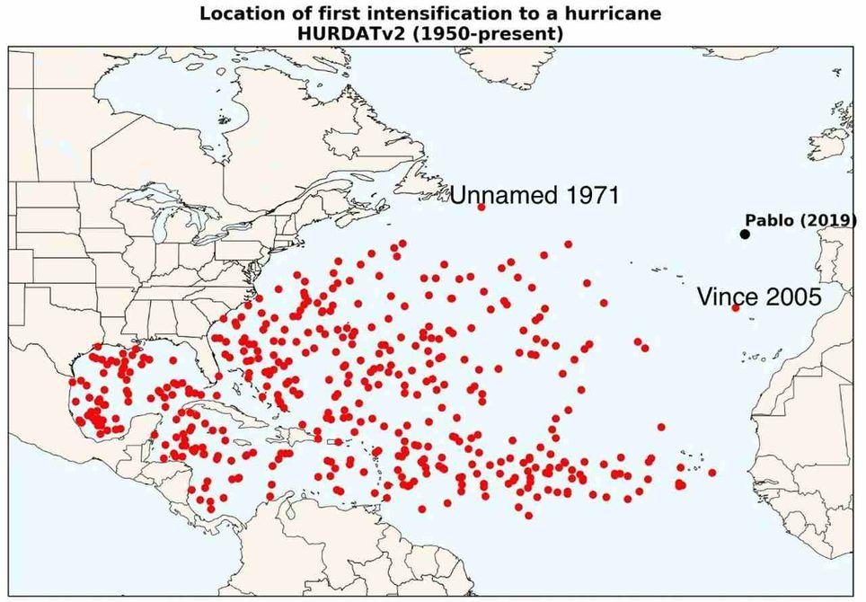 Posiciones de distintos sistemas tropicales sobre el océano Atlántico