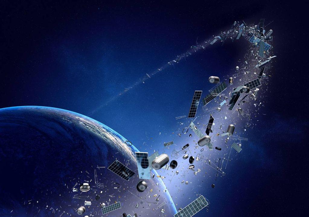 Nuestro planeta con basura espacial