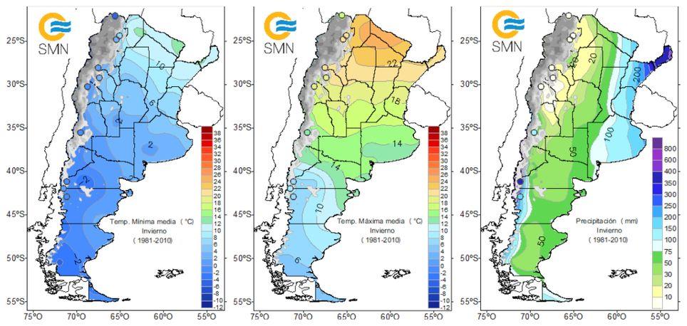 Temperatura mínima media, temperatura máxima media y precipitación media del invierno