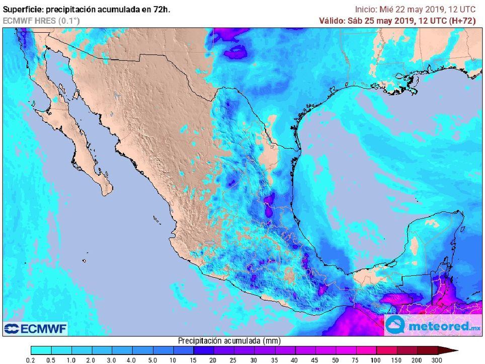 Modelo ECMWF. Precipitaciones acumuladas próximas 72 horas