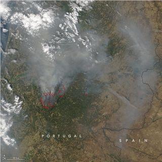 Los incendios forestales iluminan la noche de Portugal