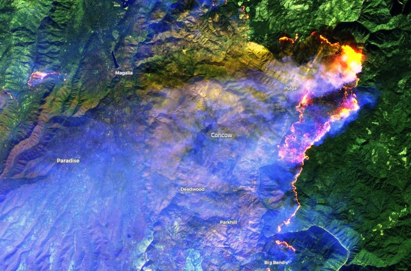 Foto 1: Imagen en falso color de Sentinel 2 del 11 de noviembre de 2018 mostrando las zonas afectadas en las cercanías de Paradise.