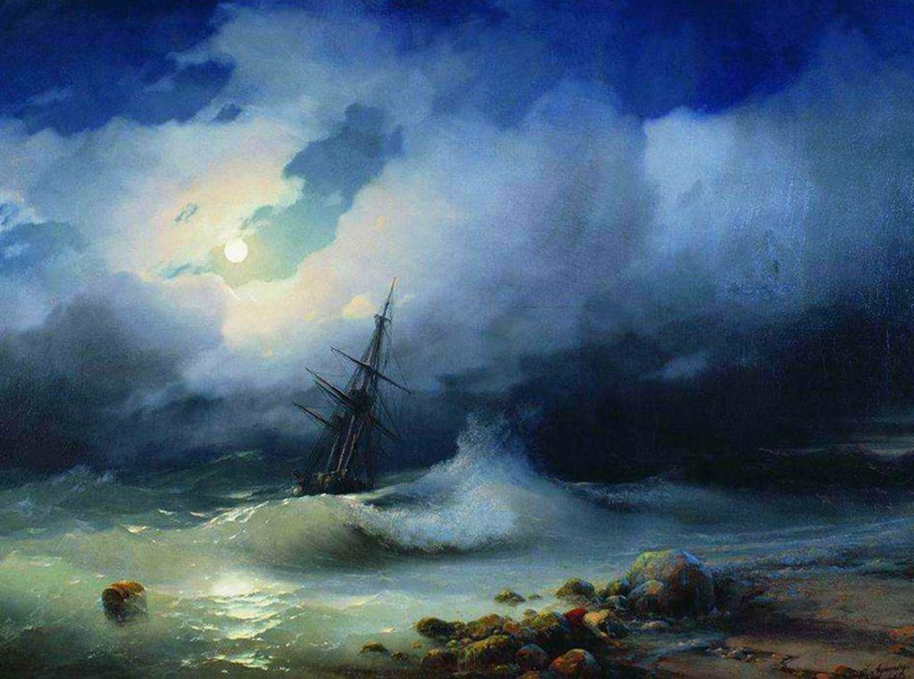 Mar agitado de noche