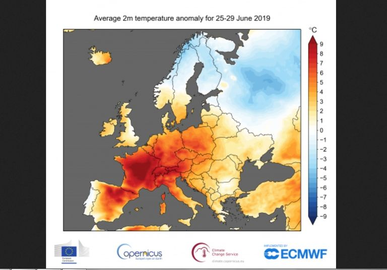 Anomalías de temperatura a 2 m para el periodo 25-29 de junio de 2019