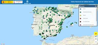 Mapa interactivo del Índice de Calidad del Aire de España