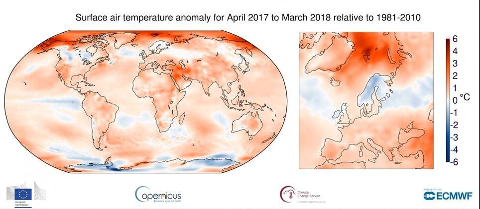 Marzo 2018 A Nivel Global Y Europeo Por Copernicus