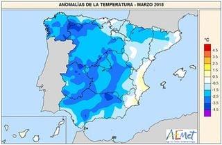 Marzo 2018 según AEMET: extremadamente húmedo y muy frío
