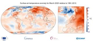Marzo 2020: otro mes de marzo muy caluroso, según Copernicus